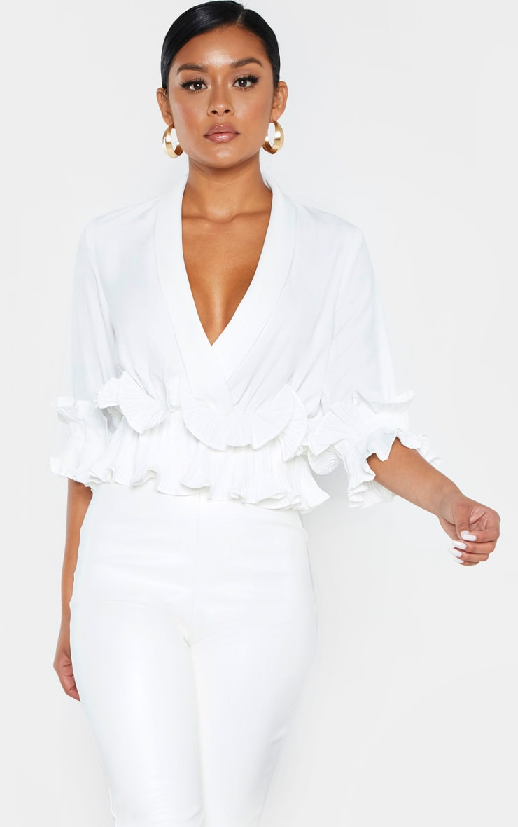 White Frill Detail Pleated Blouse 1