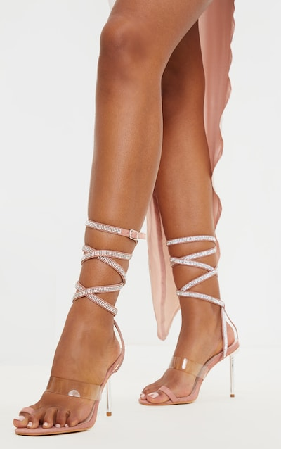 Blush Metal Heel Square Toe Diamante Ankle Tie Sandal