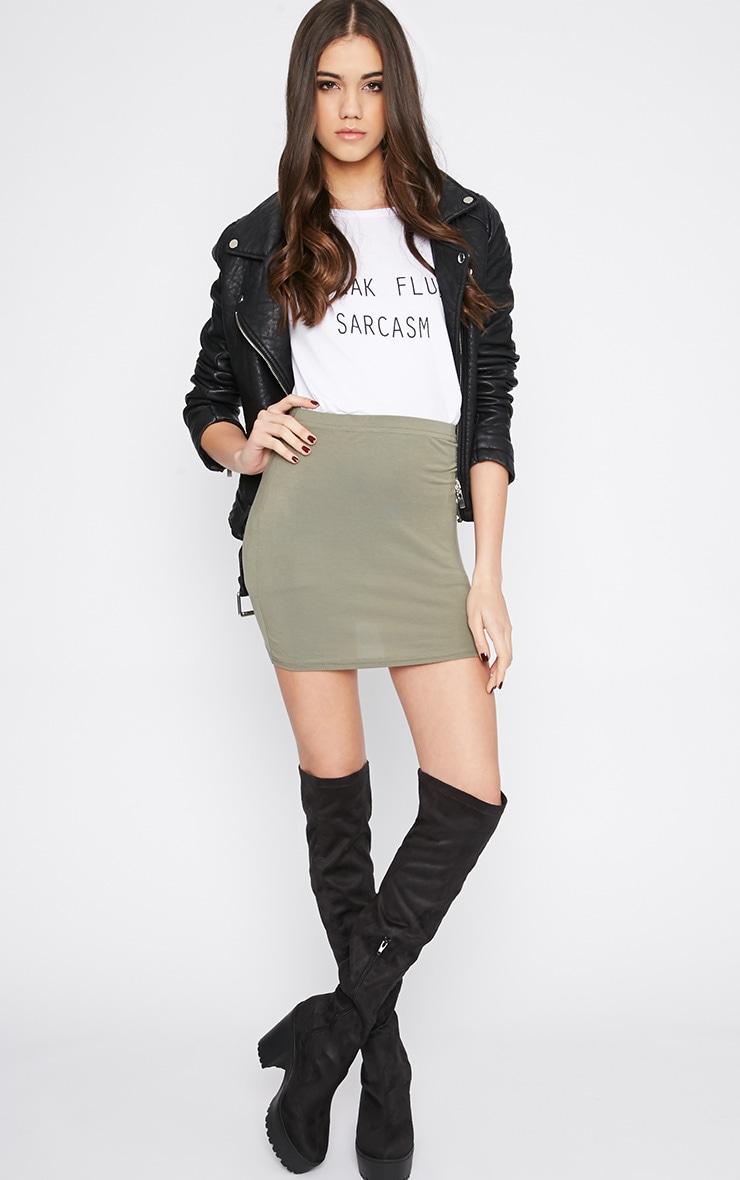 Margot Khaki Jersey Mini Skirt 5