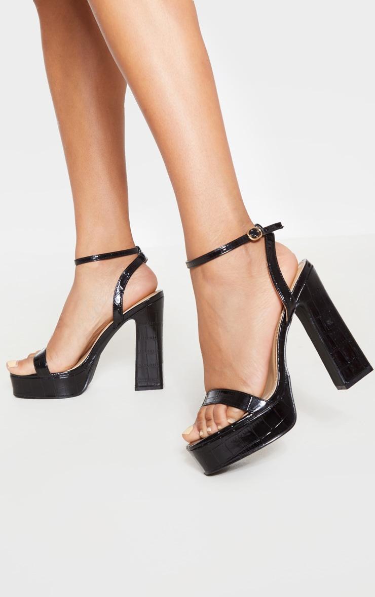 Black Platform High Strappy Sandal 1