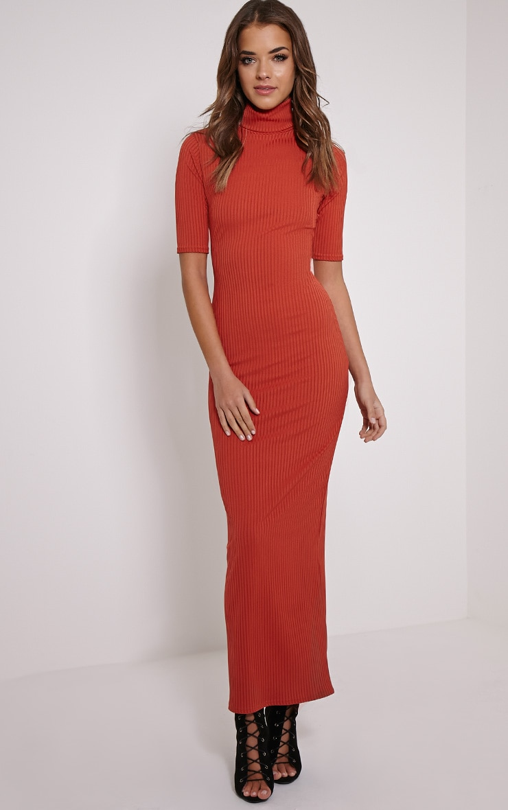 Daria Rust Open Back Ribbed Maxi Dress 4