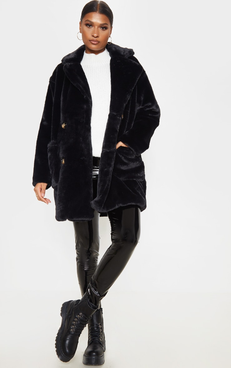 Black Faux Fur Double Breasted Button Detail Coat 1