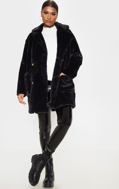 Black Faux Fur Double Breasted Button Detail Coat