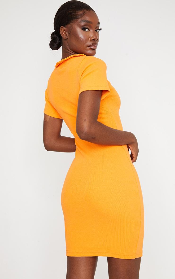Tall Orange Thick Rib Zip Up Polo Collar Bodycon Dress 2