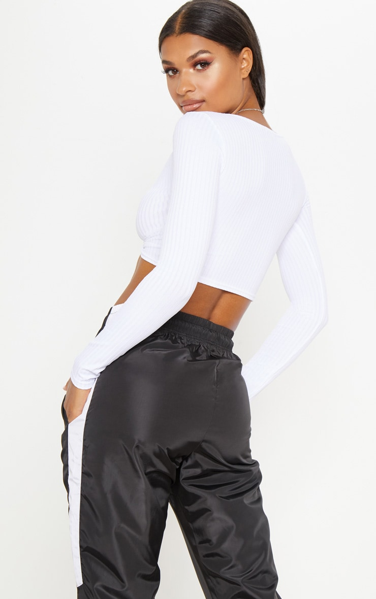 White Knot Front Long Sleeve Crop 2