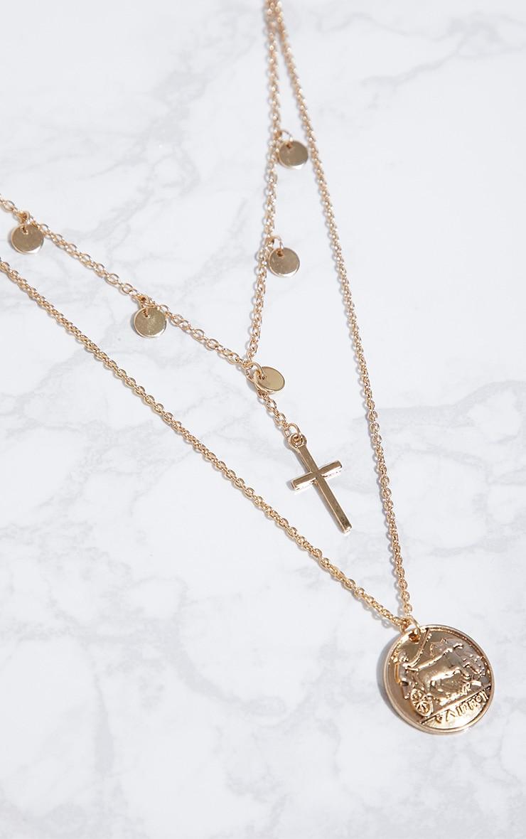 Gold Renaissance Cross Coin Pendant Necklace 3