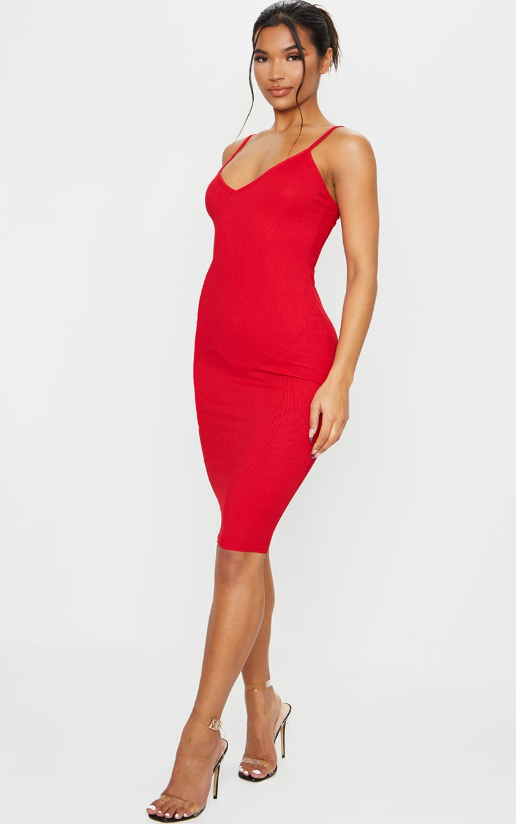 Red Ribbed Plunge Bodycon Dress 3