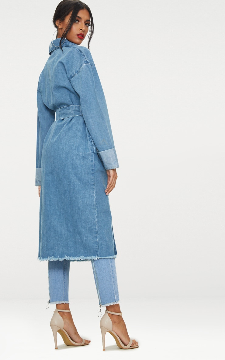 Light Wash Longline Denim Trench Coat 2