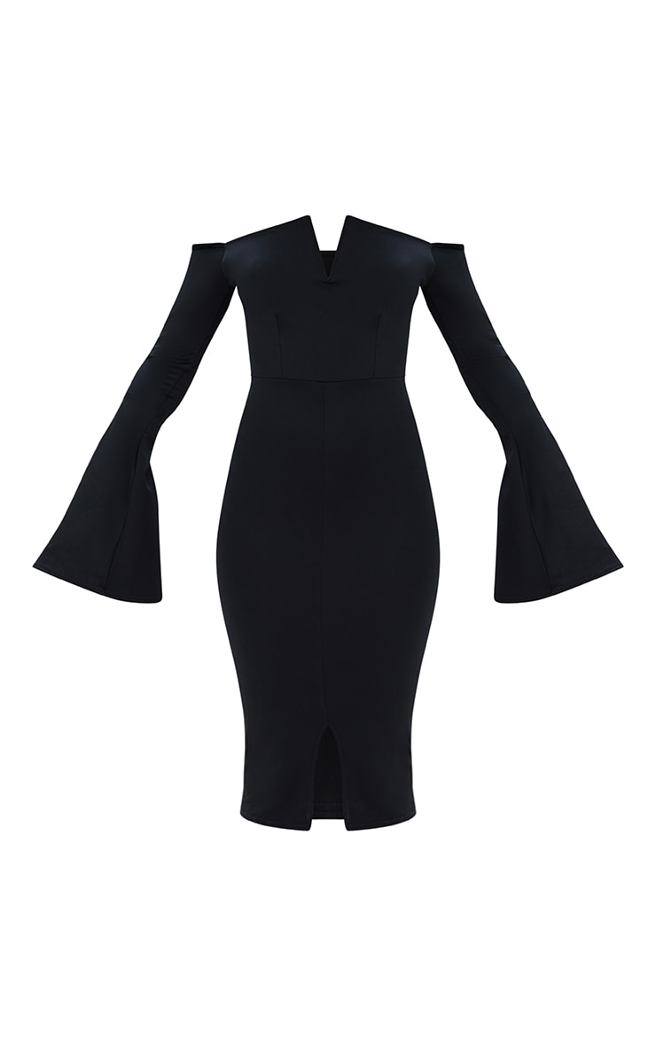 Black Bardot Flared Sleeve Midi Dress 3