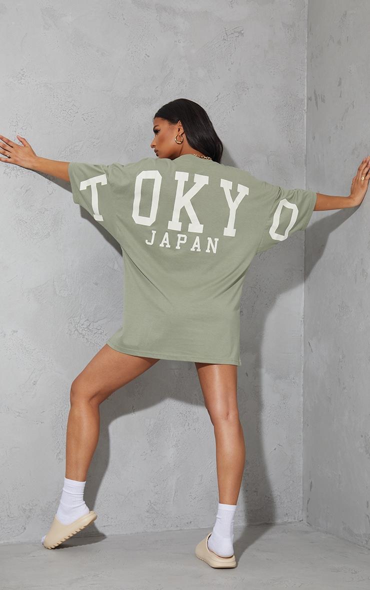 Sage Green Tokyo Japan Slogan Short Sleeve T Shirt Dress 1
