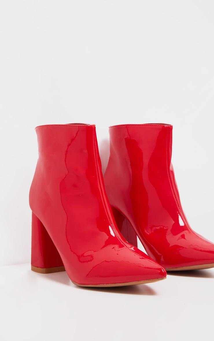 Red Patent Block Heel Point Ankle Boot 4