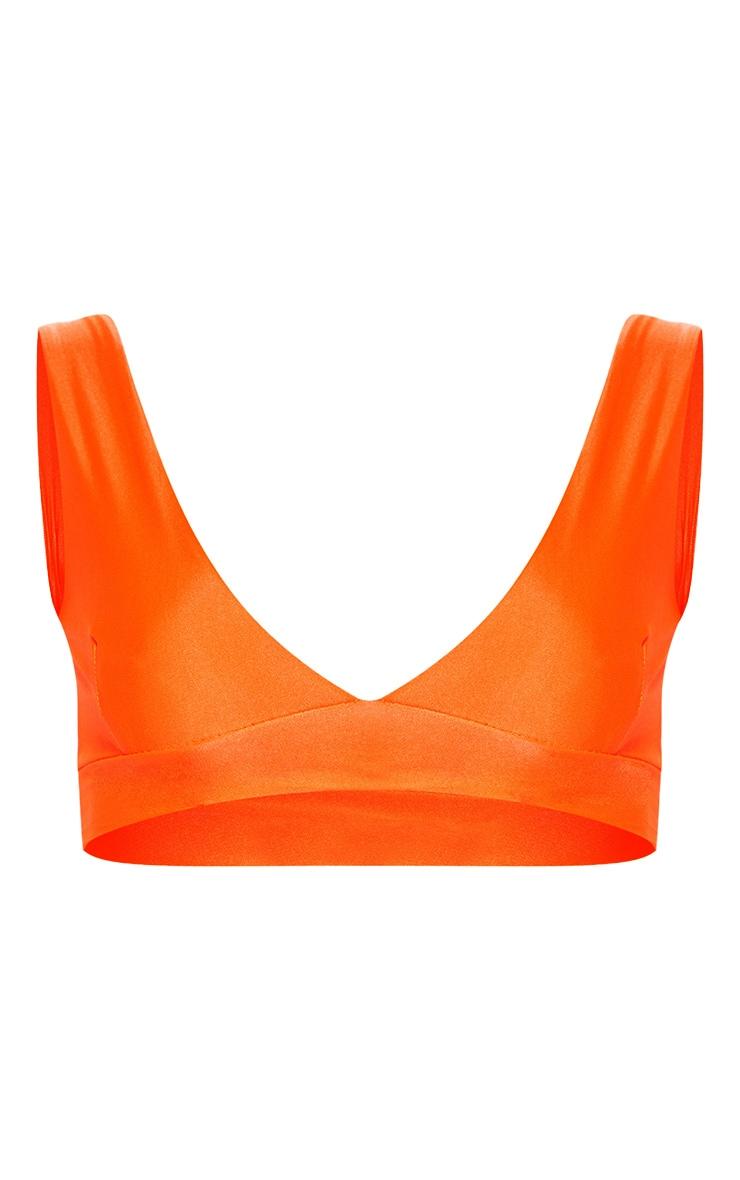 Petite Neon Orange Plunge Bikini Top 3