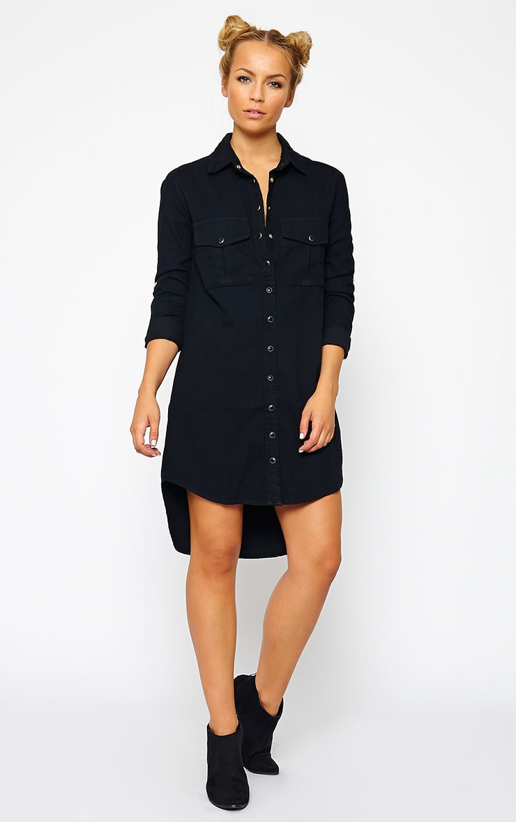 Sachi Black Denim Shirt Dress 1