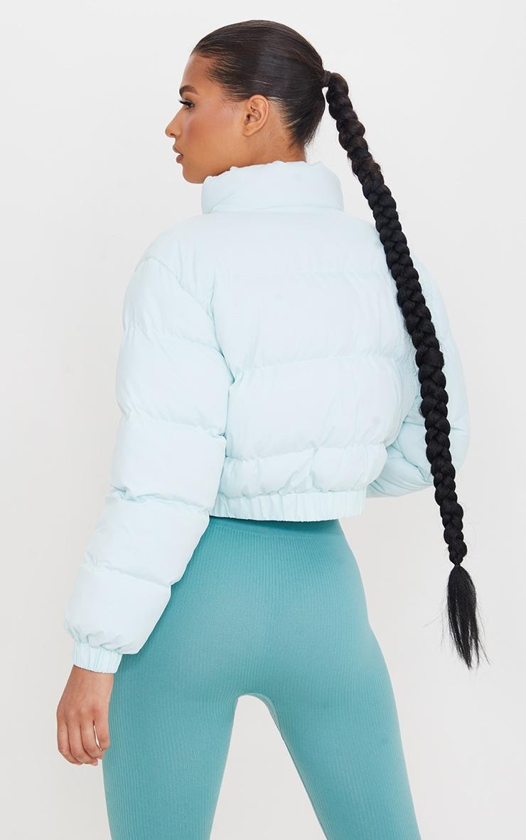 Mint Cropped Elastic Hem Bubble Puffer Jacket 2