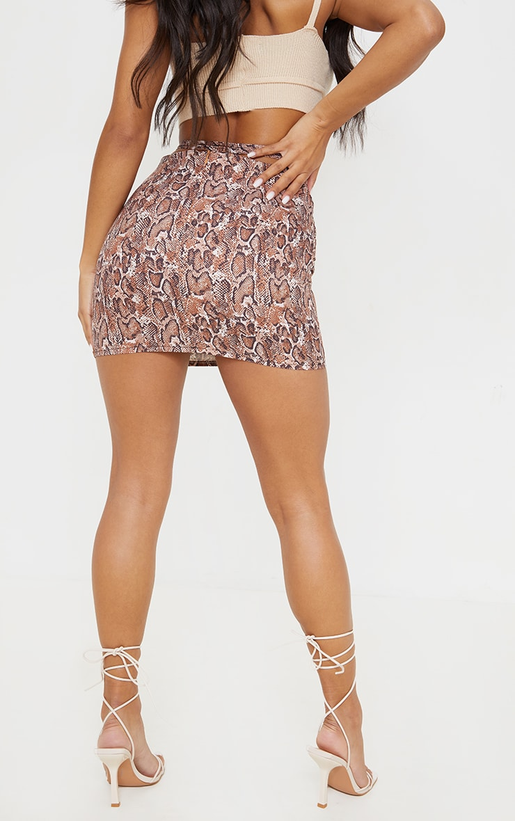 Brown Snake Ruched Front Tie Waist Mini Skirt 3