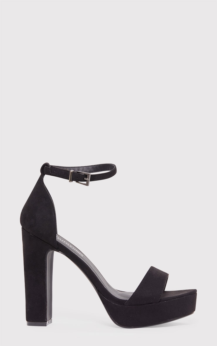 Taya Black Faux Suede Platform Sandals 2