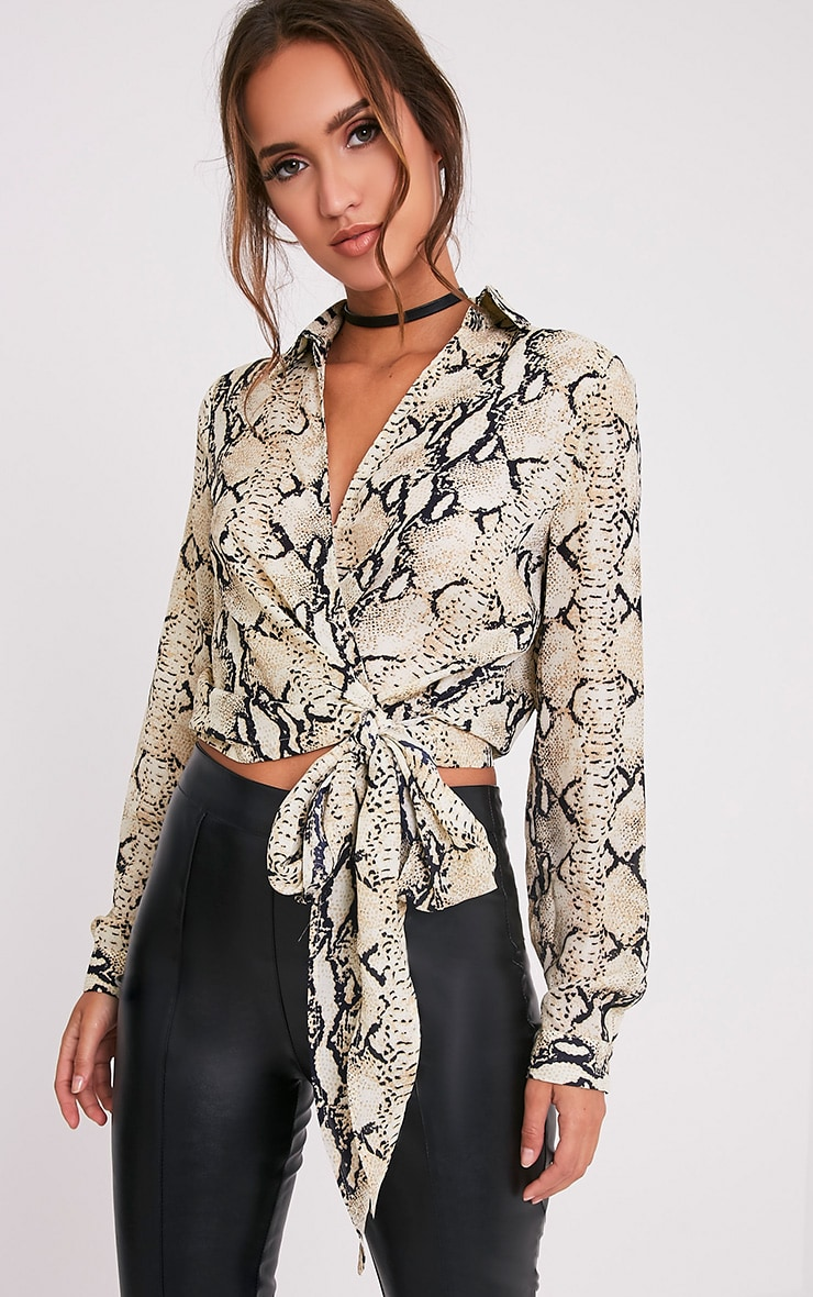 Avalyn Taupe Snake Print Tie Waist Blouse 1