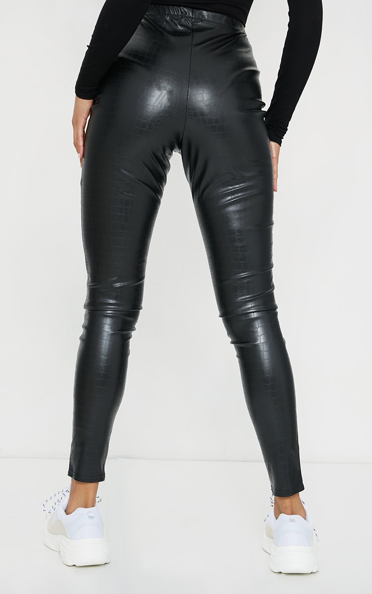 Black Croc Faux Leather Skinny Trousers 3