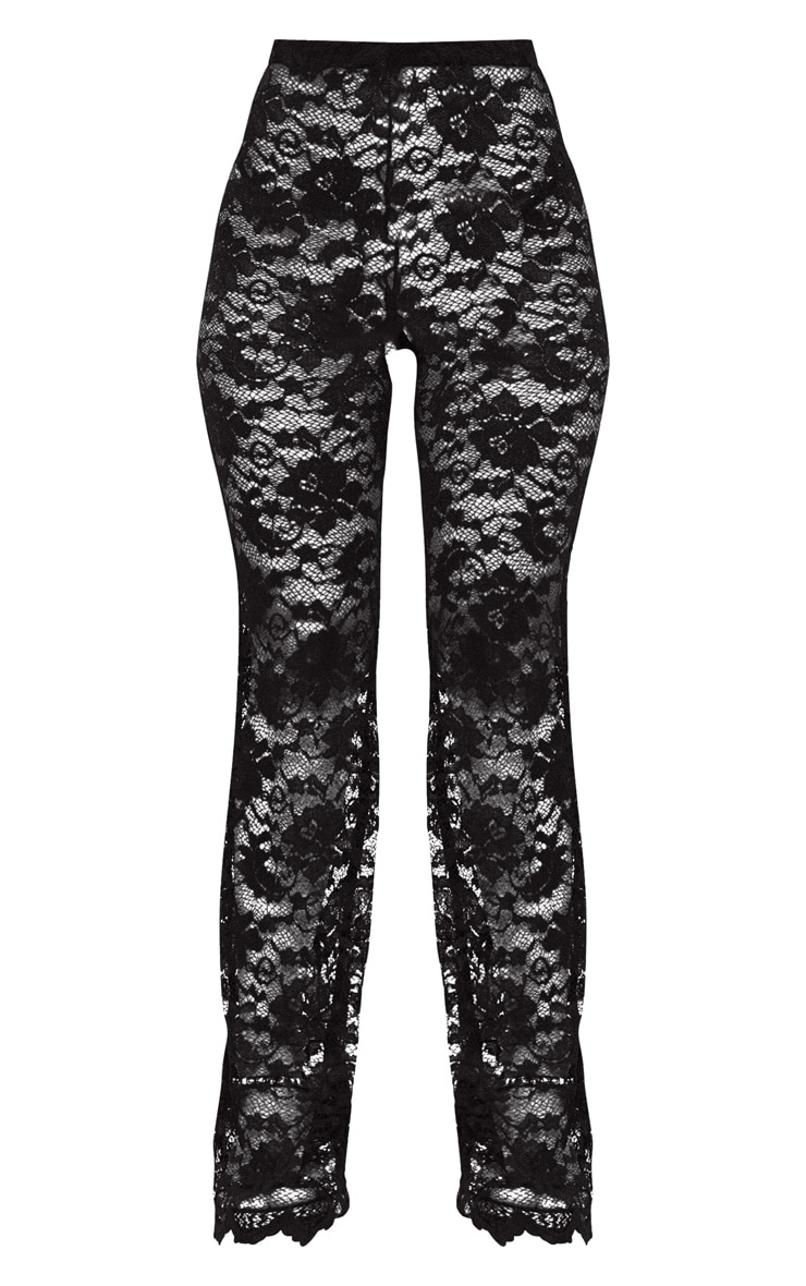 Black Lace Scalloped Hem Beach Trousers 3