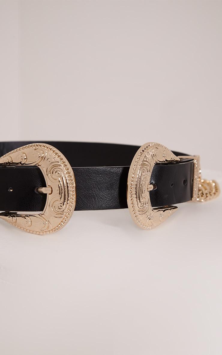 Stevie ceinture western noire à double boucles et chaînes 6