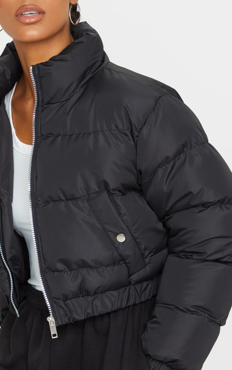 Black Cropped Bubble Button Down Puffer Jacket 4