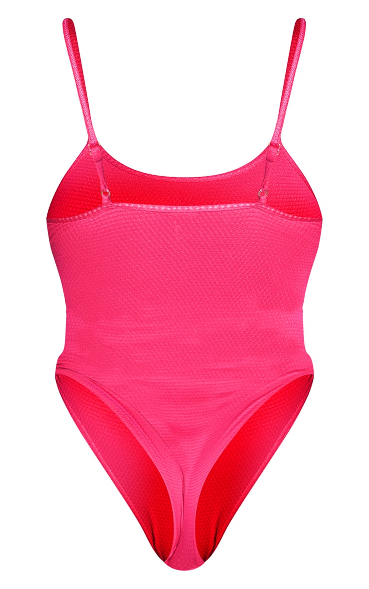 Hot Pink Waffle Scoop Neck Swimsuit 6