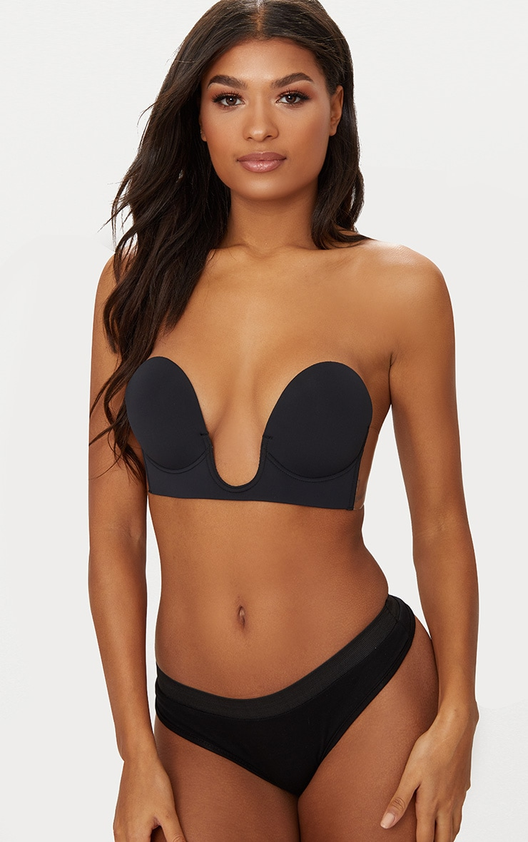 Black Stick On Winged U Plunge Bra