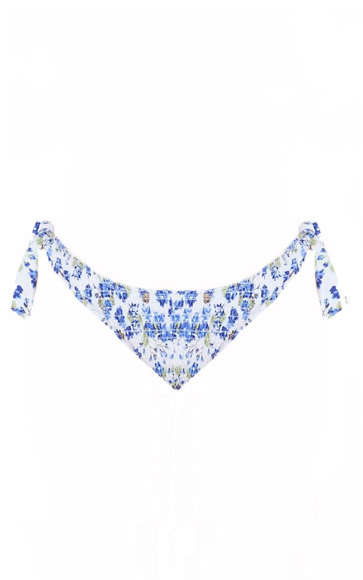 Multi Floral Smocked Tie Side Bikini Bottoms 5
