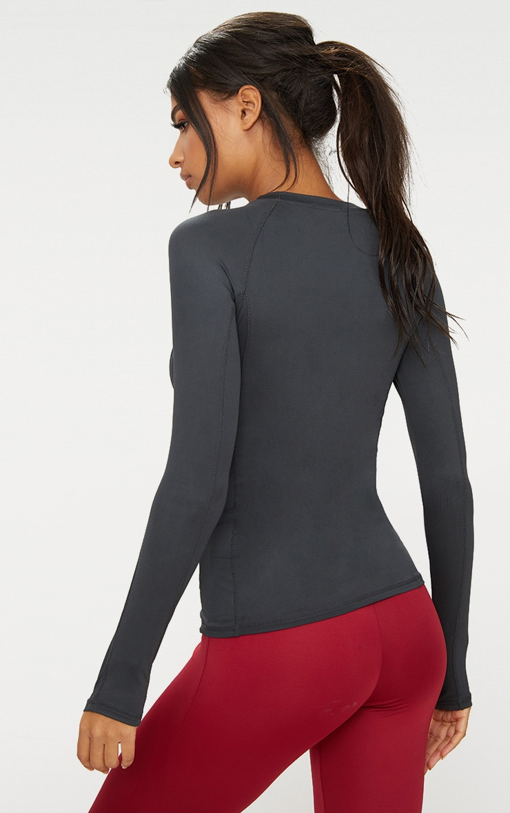 Charcoal Long Sleeve Gym Top  2