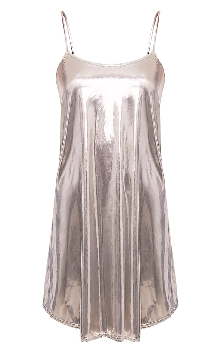 Latina Champagne Metallic Swing Dress 3