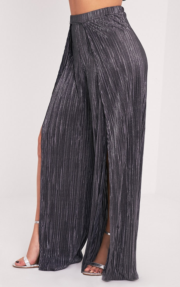 Shape Madaline Grey Split Front Metallic Trousers 4