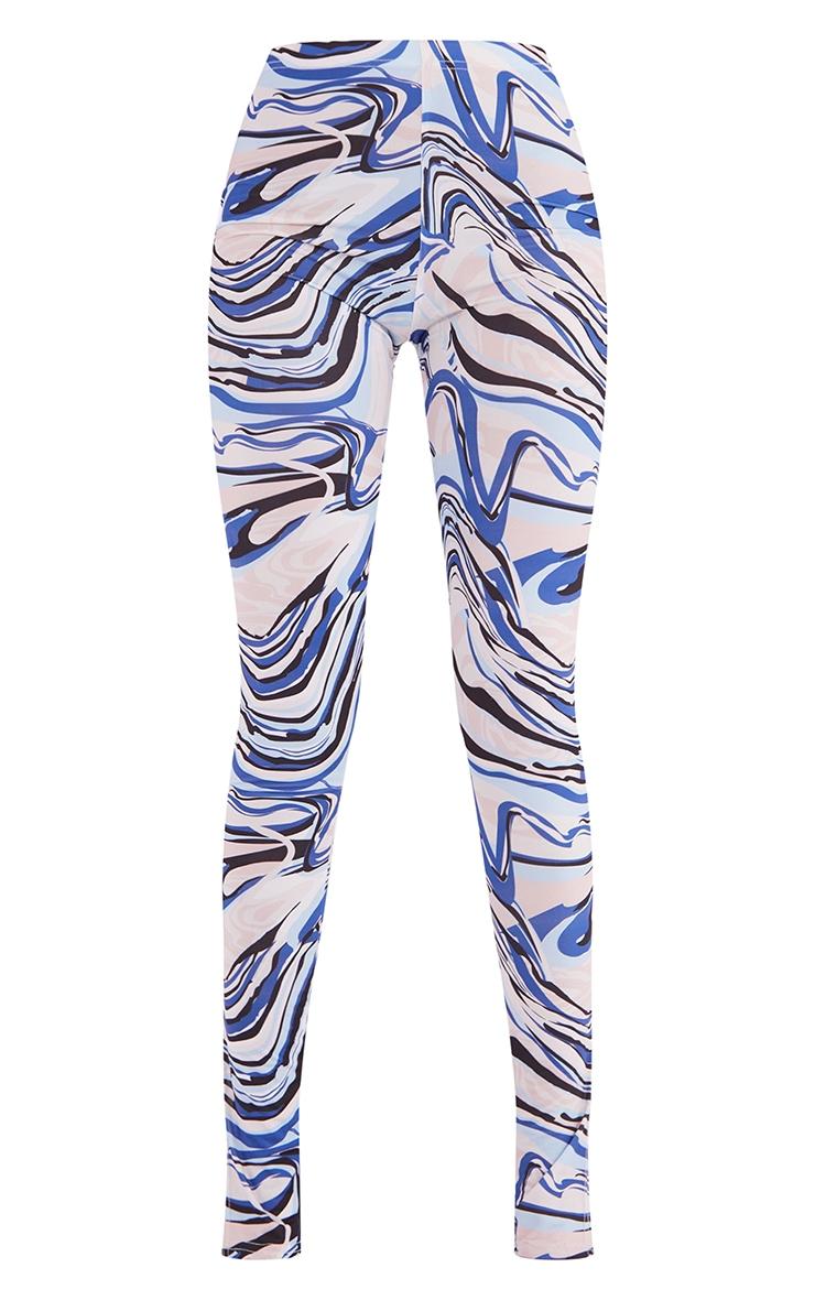 Tall Blue Swirl Print Split Hem Leggings 5