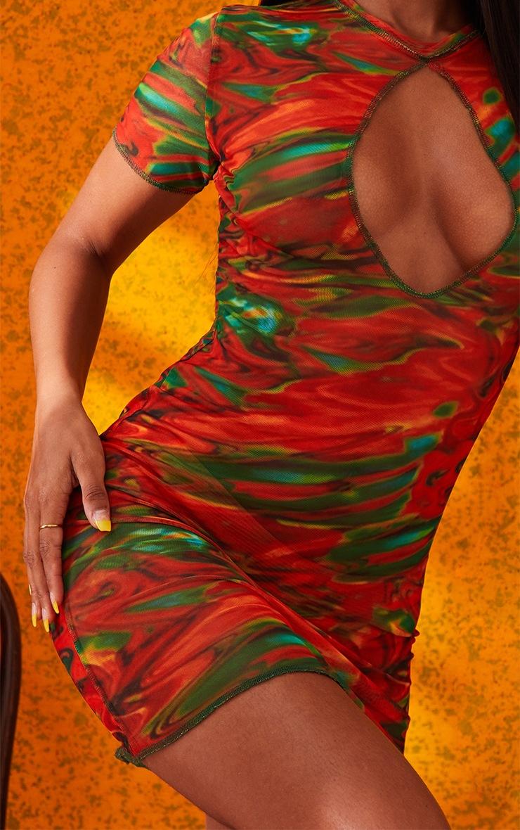 Orange Marble Print Sheer Mesh Keyhole Detail Short Sleeve Mini Dress 5