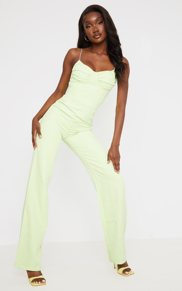 Tall Lime Ruched Cup Corset Detail Wide Leg Jumpsuit 1