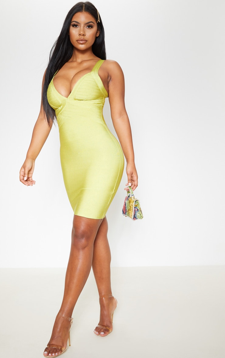 Lime Bandage Lined Cup Detail Bodycon Dress 3