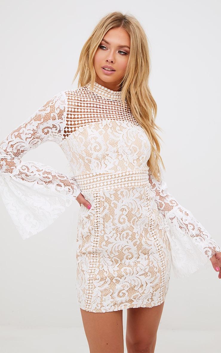 White Crochet Lace Flared Cuff  Bodycon Dress 1