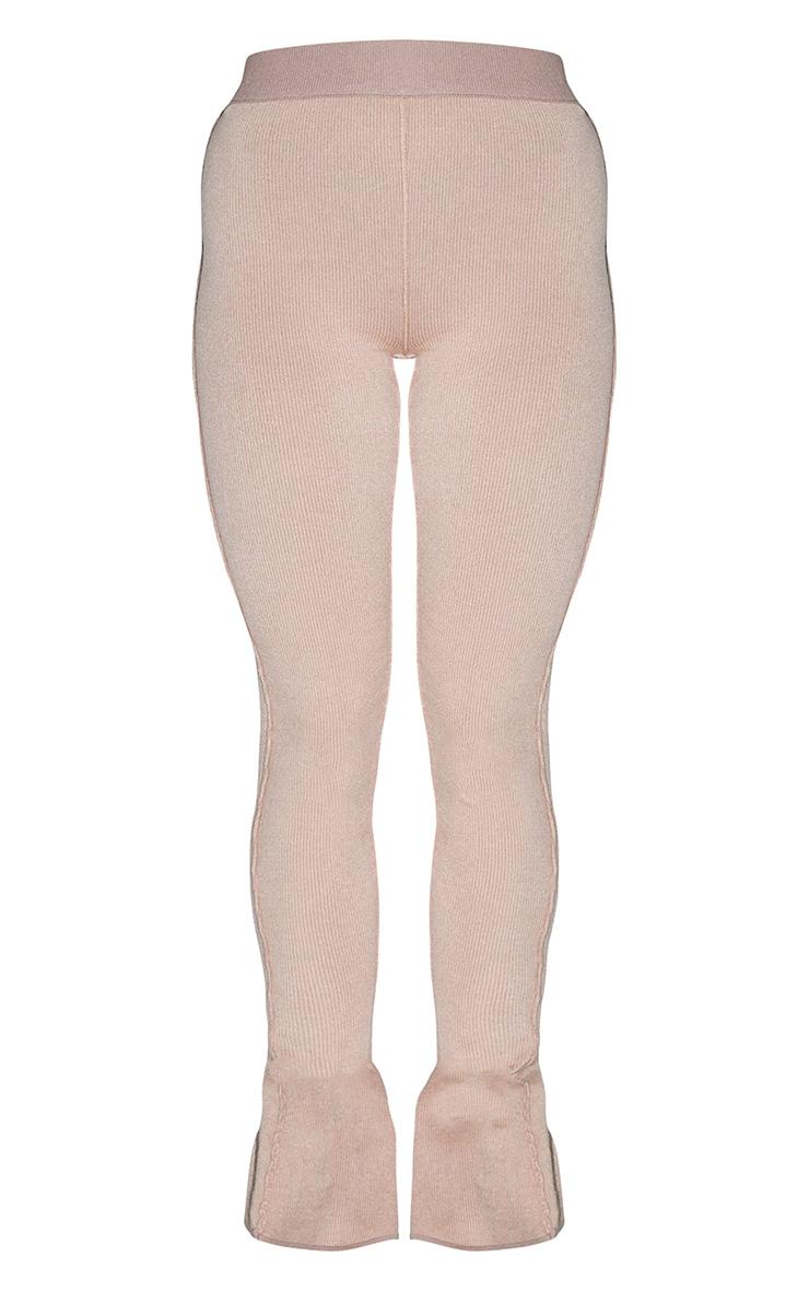 Mocha Knitted Split Hem Flare Pants 5