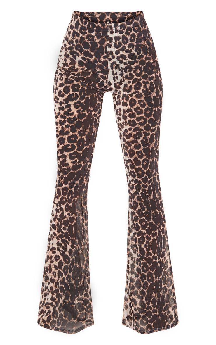Brown Leopard Print Sheer Mesh Flares 3