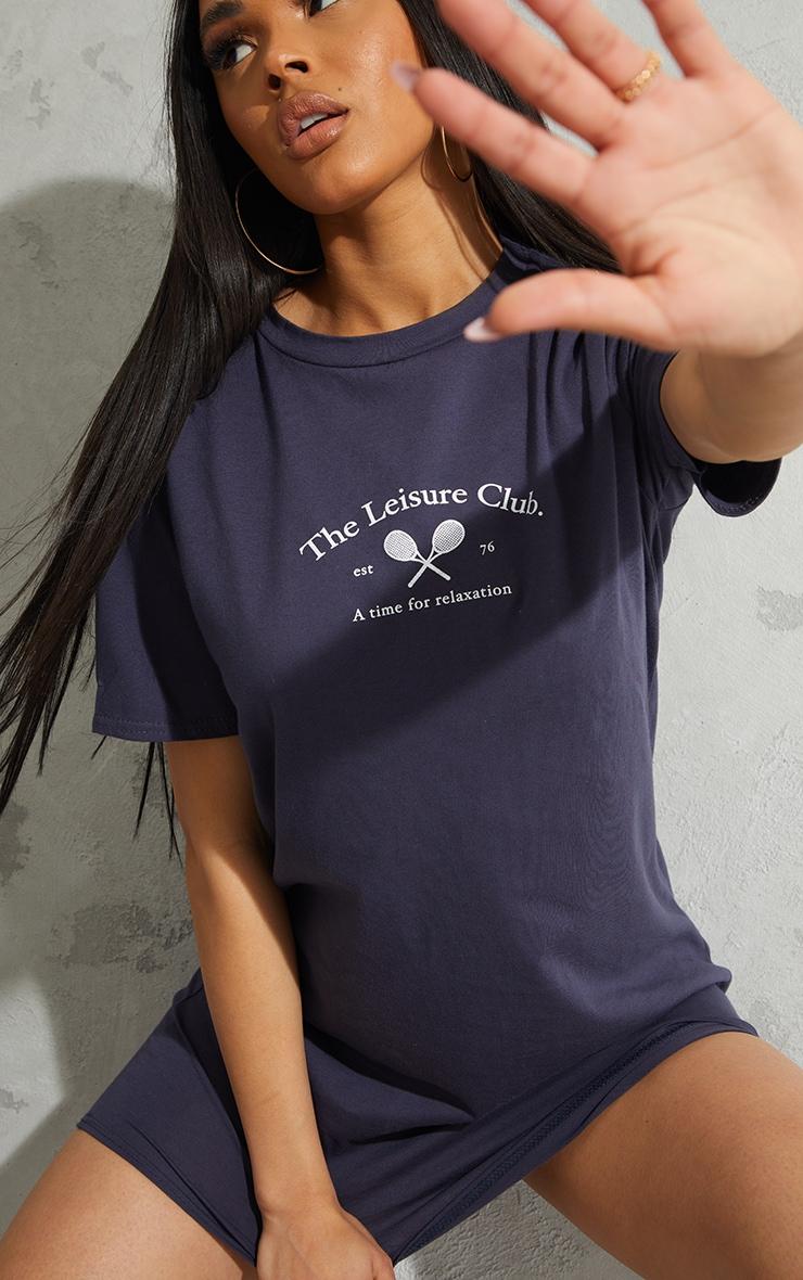 Navy The Leisure Club Printed T Shirt Dress 4