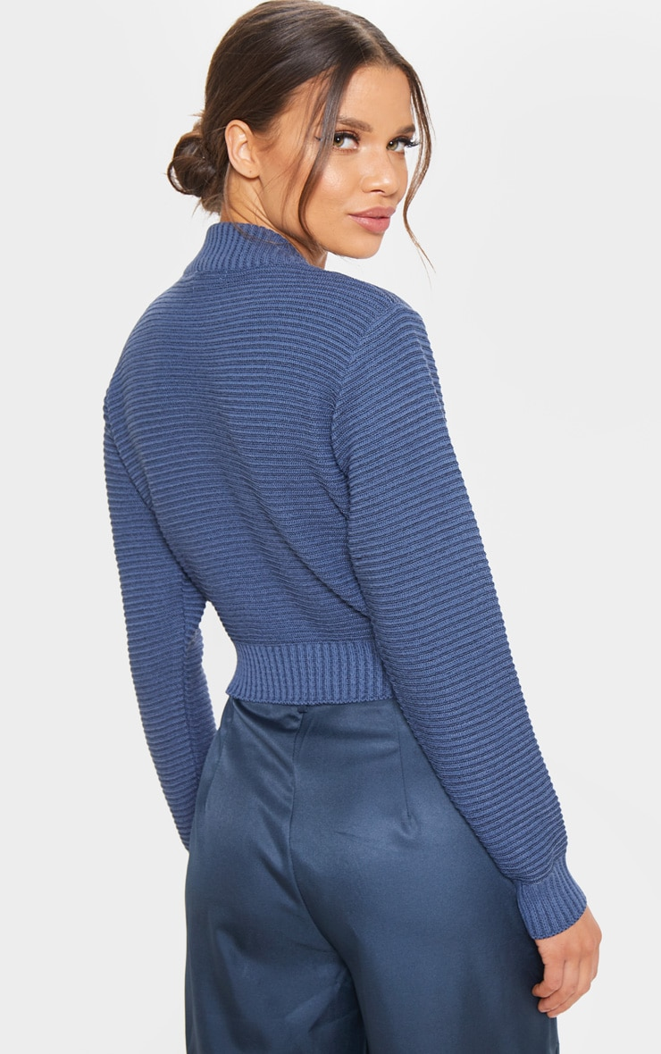 Petrol Ribbed Cropped Knitted Jumper  2