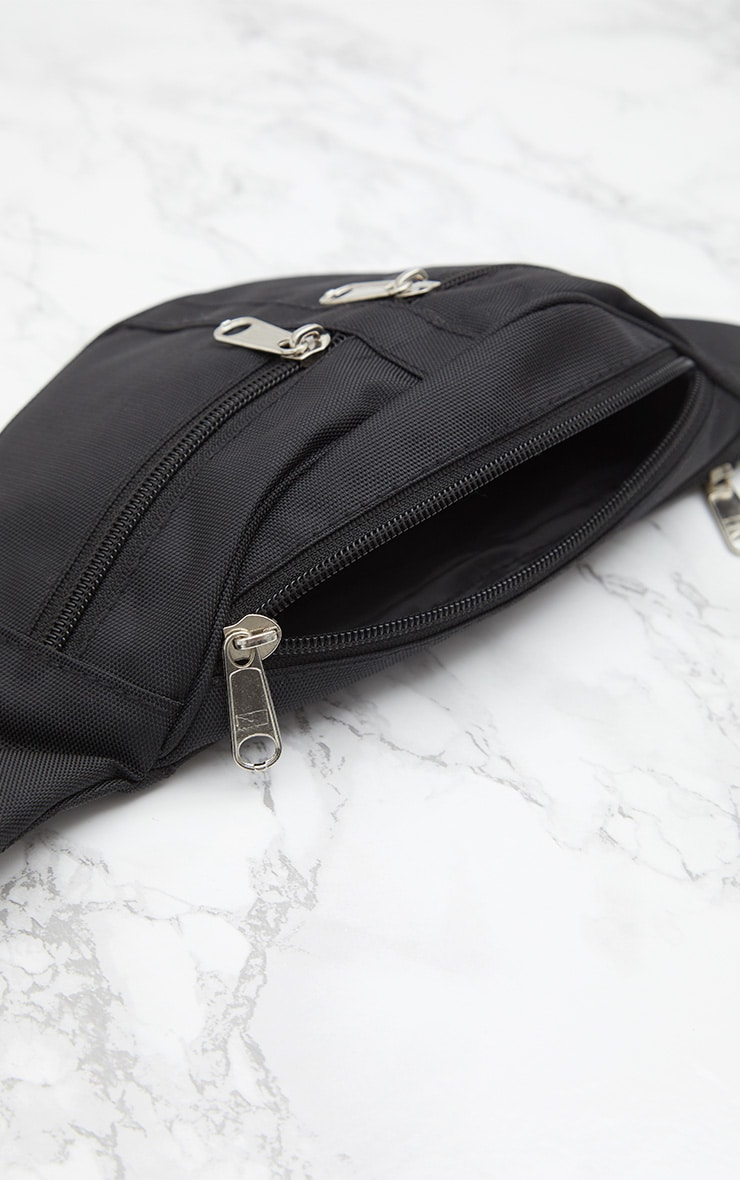 Black Double Zip Bum Bag 6