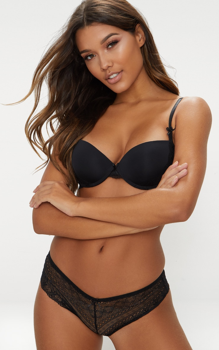 Black Push Up Bra & Shortie Set