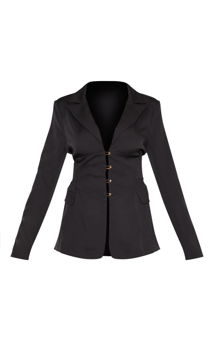 Black Corset Woven Blazer 3