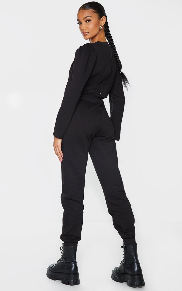 Black Puff Sleeve Sweat Jumpsuit 2
