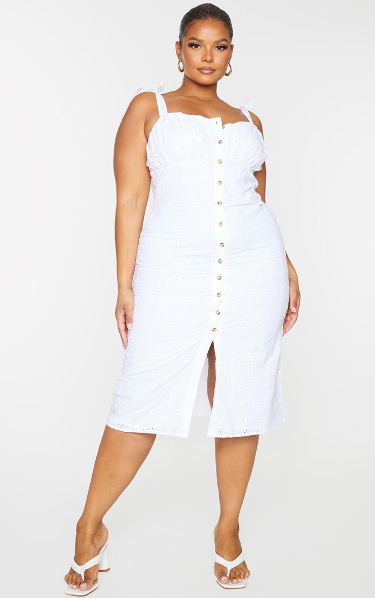 Plus White Button Up Broiderie Anglaise Midi Dress 1