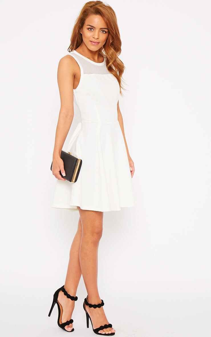 Bridgette White Mesh Panel Skater Dress 1