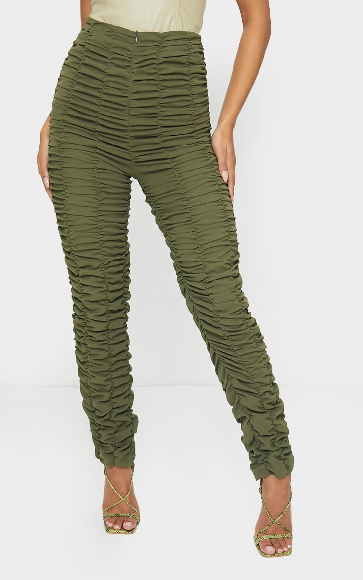 Khaki Ruched Leg Woven Skinny Trousers 2