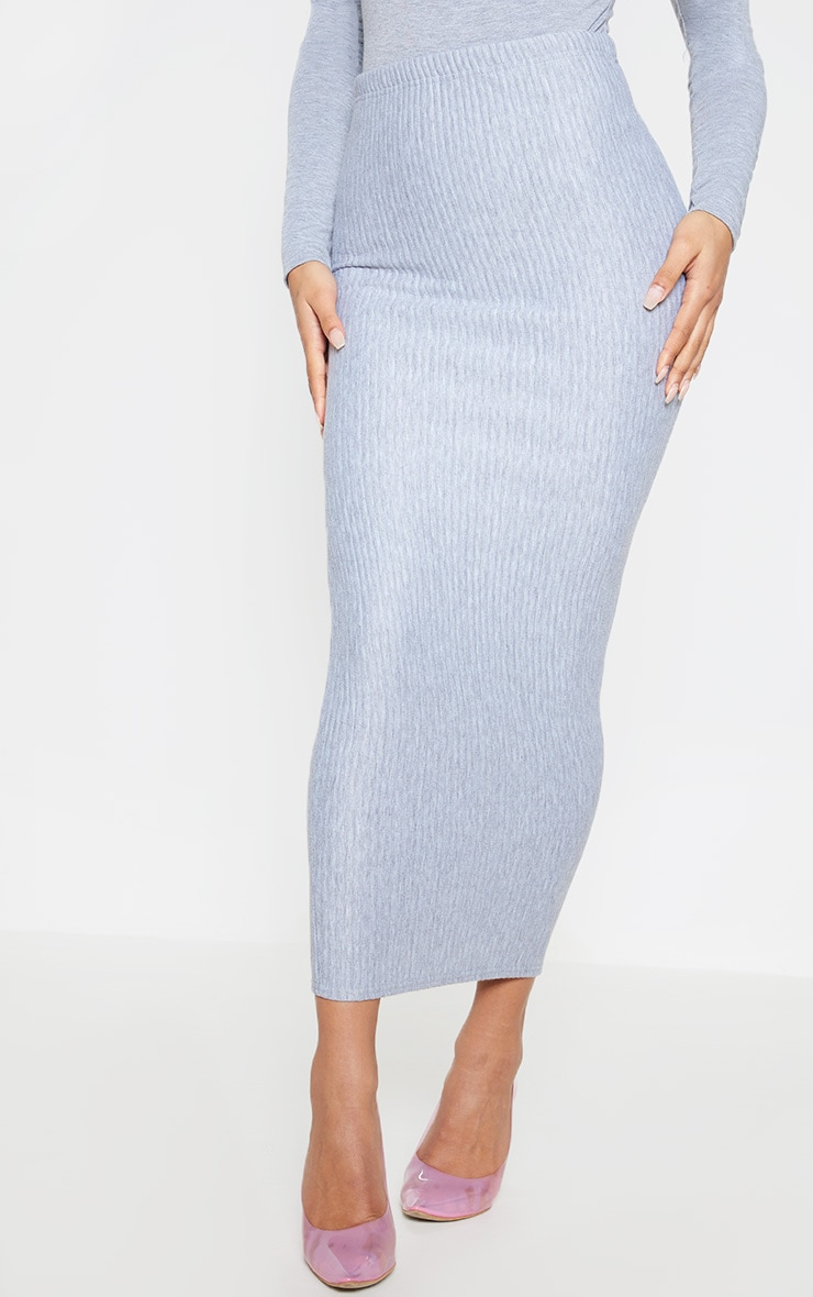 Grey Jumbo Rib Midaxi Skirt 2