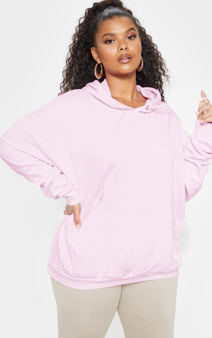 PRETTYLITTLETHING Plus Light Pink Embroidered Oversized Hoodie 1
