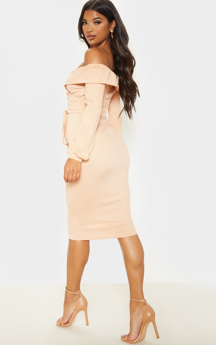 Fawn Long Sleeve Wrap Bardot Midi Dress 2
